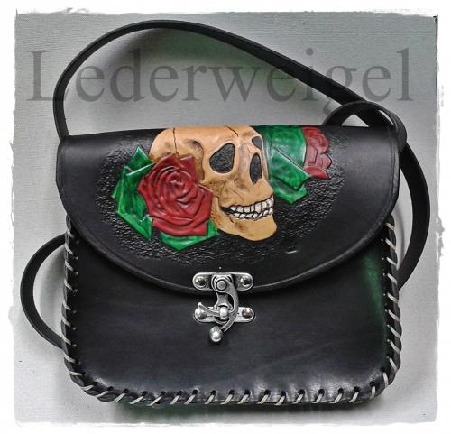Umhängetasche - Skull Rose