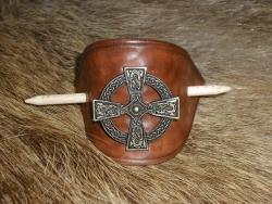 Haarspange mit Zierniete  - Keltisches Kreuz