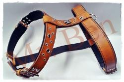 Hundegeschirr aus Leder - Iron Cross