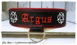 Hundehalsband punziert - Modell Pentagramm (Name frei wählbar)